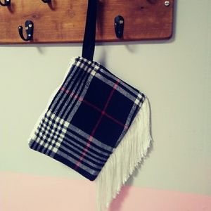 Fun fringy plaid fringed wristlet